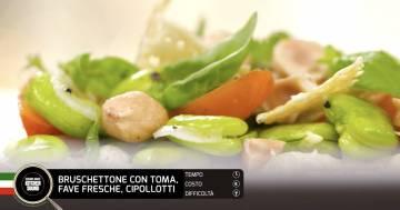 Bruschettone con toma, fave fresche, cipollotti - Alessandro Borghese Kitchen Sound - Rural Glam