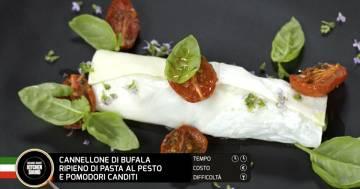 Cannellone di bufala ripieno di pasta al pesto e pomodori canditi - Alessandro Borghese Kitchen Sound - KIDS