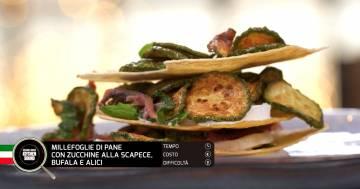 Millefoglie di pane con zucchine alla scapece, bufala e alici - Alessandro Borghese Kitchen Sound - Teen