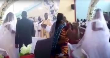 Interrompe il matrimonio perché all'altare c'è suo marito: il video