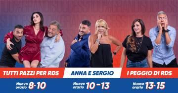 Tutti Pazzi per RDS, Anna e Sergio e Giovanni e Petra: da lunedì on-air con un nuovo orario
