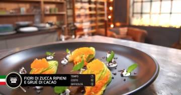 Fiori di zucca ripieni di grué di cacao - Alessandro Borghese Kitchen Sound - Cioccolato inaspettato