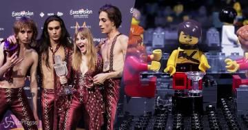 Maneskin: la scena del bicchiere rotto all'Eurovision è stata rifatta con i Lego
