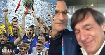 """Fabio Caressa si commuove abbracciando Beppe Bergomi: """"Per noi è stato bellissimo"""""""