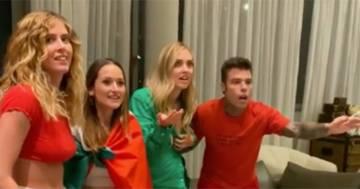 I festeggiamenti a scoppio ritardato dei Ferragnez per la vittoria dell'Italia: il video